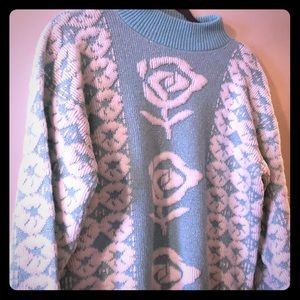 Beautiful pastel blue sparkly vintage sweater